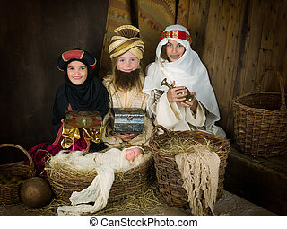 Live nativity scene with wisemen