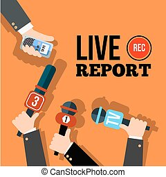 Live news concept vector. Set of hands holding microphones ...