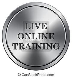 Live online training icon. Round icon imitating metal.