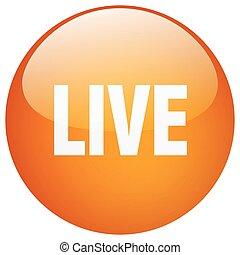 live orange round gel isolated push button