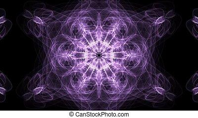 Live purple fractal mandala, video tunnel on black...
