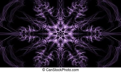 Live purple hexagonal fractal mandala, video tunnel on black...