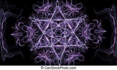 Live purple hexagonal fractal mandala, video tunnel on black...