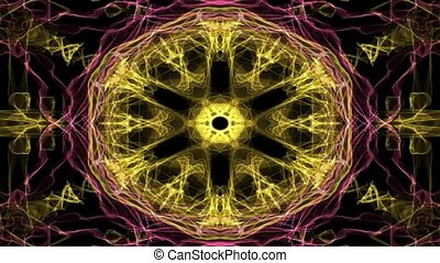 Live red and yellow fractal mandala, video tunnel on black...