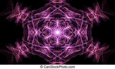 Live red, orange and purple fractal mandala, video color...