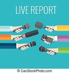 live report - Journalism concept vector - set of hands...