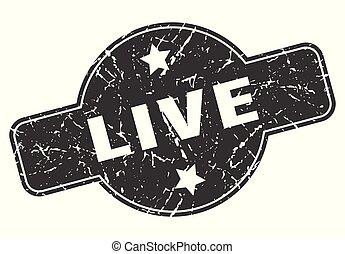 live round grunge isolated stamp