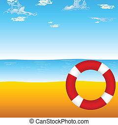 live saver on the beach illustratio