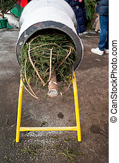 Christmas urban fir-tree market