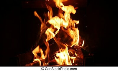 Live spurts of fire turning wooden logs into black ash in a fireplace