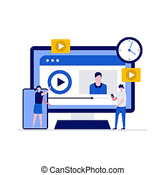Live steaming, mobile phone and live video stream concept. People character streaming via smartphone. Modern vector illustration in flat style for landing page, mobile app, web banner, hero images
