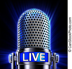 live - 3D rendering of a microphone with an live icon