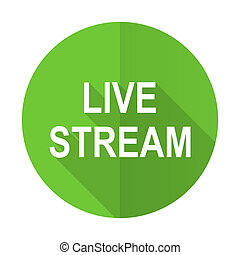 live stream green flat icon