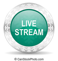 live stream green icon, christmas button