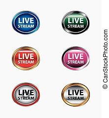 Live stream icon button set vector
