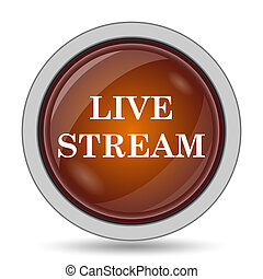 Live stream icon, orange website button on white background.