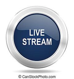 live stream icon, dark blue round metallic internet button, web and mobile app illustration