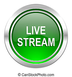 live stream icon, green button
