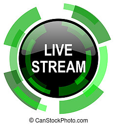 live stream icon, green modern design isolated button, web and mobile app design illustration
