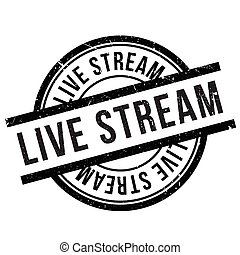 Live stream stamp. Grunge design with dust scratches....