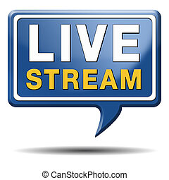 live stream tv music or video button icon or sign live on ...