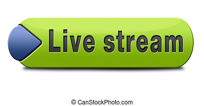live stream tv music or video button icon or sign live on...