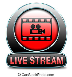 live stream video button icon or sign live on air...