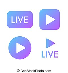 Live stream violet icon on a white background. Blogger streaming online symbol.. Play button icon vector illustration.