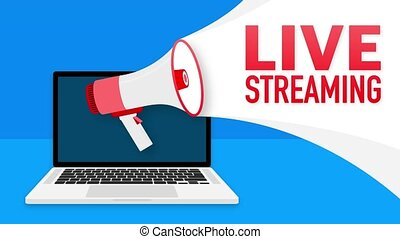 Live streaming banner in flat style on white background. Play video. Web media. Motion graphics.