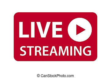 Live streaming icon vector symbol, isolated on white background. Button video player