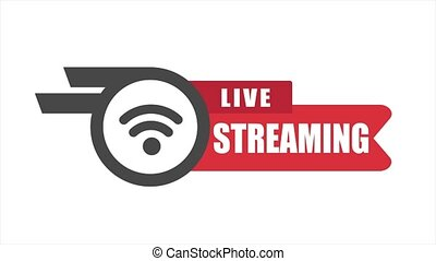 Live streaming media concept for broadcasting and online schooling. 4K animation on white