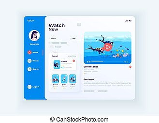 Live streaming service tablet interface vector template. Mobile app page day mode design layout. User account screen. Flat UI for application. Video updates and search on portable device display.