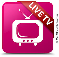 Live tv pink square button red ribbon in corner
