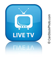 Live tv special cyan blue square button