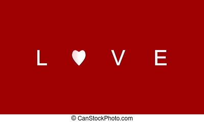 live word become love. 3D rendering animation red background