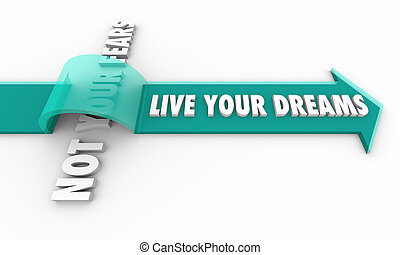 Live Your Dreams Not Your Fears Arrow Over Words 3d Illustration