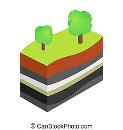 livelli, di, terra, 3d, isometrico, icona