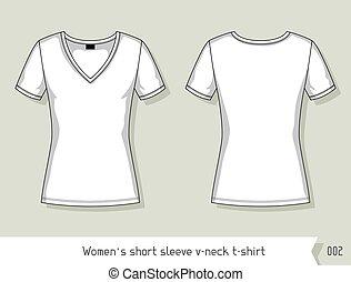 livelli, facilmente, cilindro corto, editable, t-shirt., sagoma, v-collo, disegno, donne