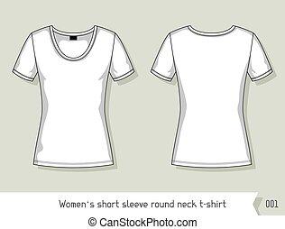livelli, facilmente, corto, collo, manica, editable, rotondo, t-shirt., sagoma, disegno, donne