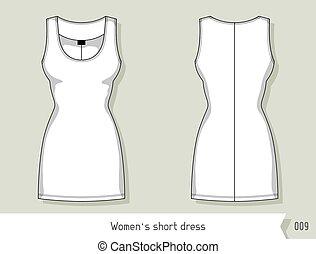 livelli, facilmente, dress., editable, corto, sagoma, disegno, donne