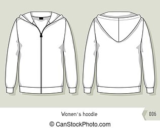 livelli, facilmente, editable, sagoma, hoodie., disegno, donne
