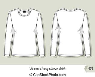 livelli, facilmente, manica, shirt., editable, lungo, sagoma, disegno, donne