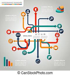 livelli, informazioni, elementi, file, media, set., sociale, infographic, diagramma, editing., vettore, facile, grafica, reti