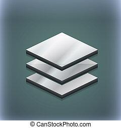livelli, raster, spazio, testo, moderno, simbolo., style., trendy, disegno, 3d, tuo, icona