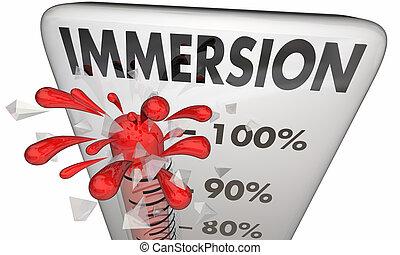 livello, immersione, misura, illustrazione, calibro, termometro, immersive, 3d