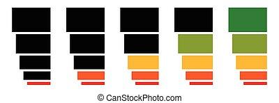 livello, sequenza, alto, basso, progresso, indicatori