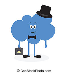 Lively cloud with a suitcase