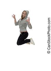 lively girl -  jumping merrily girl