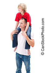 Lively little boy enjoying piggyback ride with his father