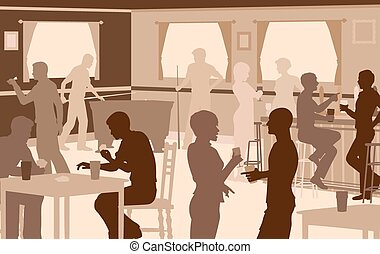 Lively pub - EPS8 editable vector cutout illustration of...